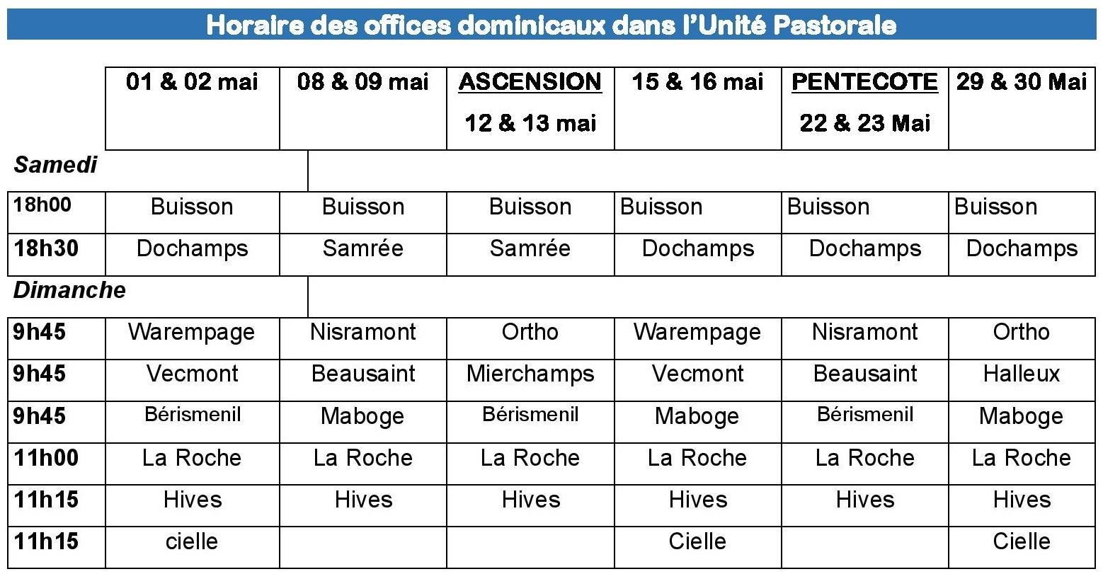 Horaire des offices dominicaux mai 2021